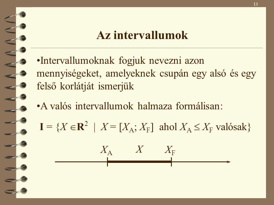 I = {X R2 | X = [XA; XF] ahol XA  XF valósak}